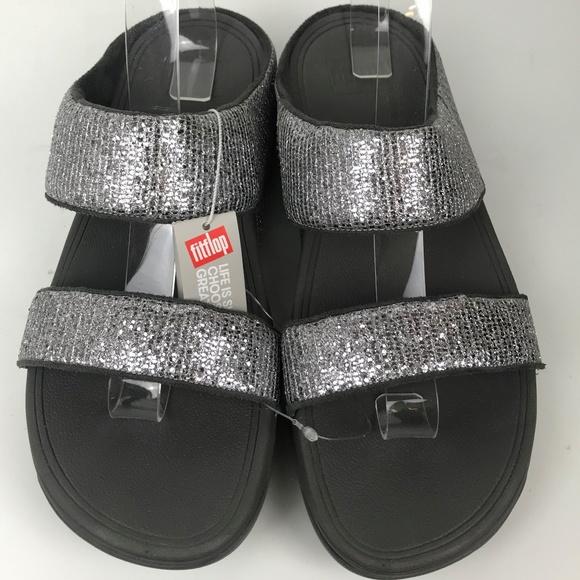 a085c875264d1 New Fitflop Lulu Superglitz Sliver Slide Sandals 9